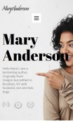 Author Website Design - Mary Anderson - mobile preview