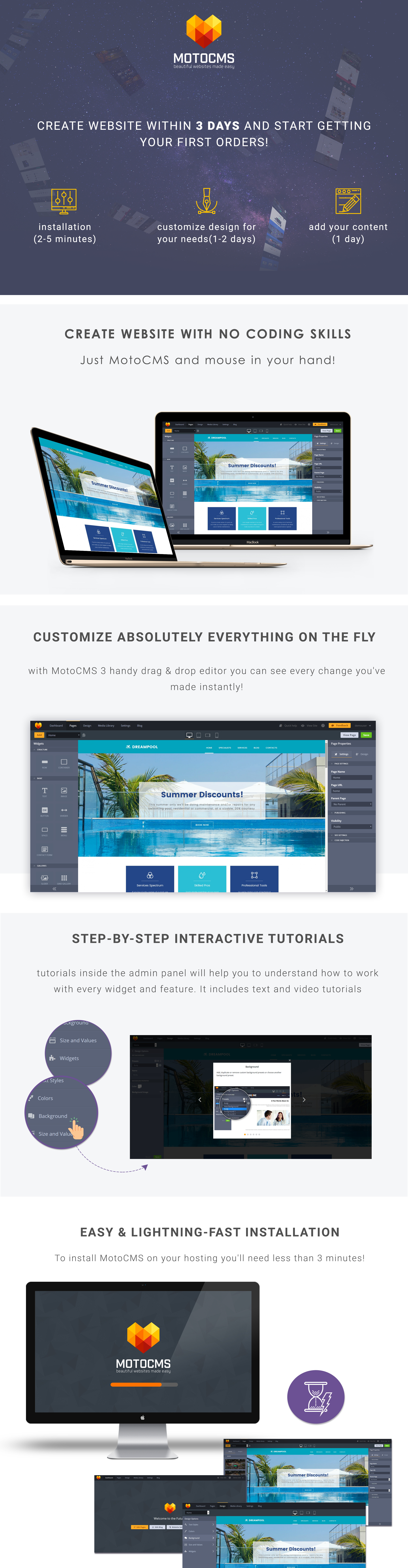 Swimming Pool Website Design For Pool Service Company Motocms