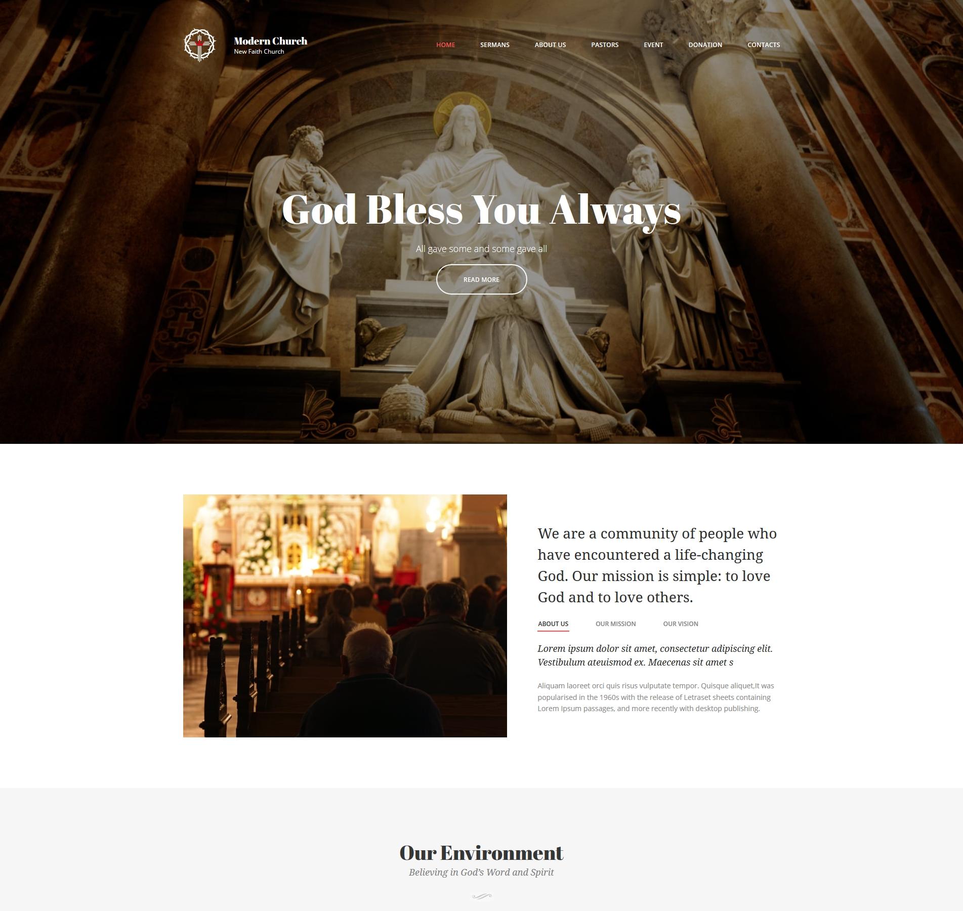Christian Church Website Design Templatemonster