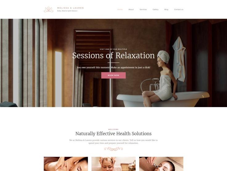 Spa Website Design - Melissa & Lauren - main image