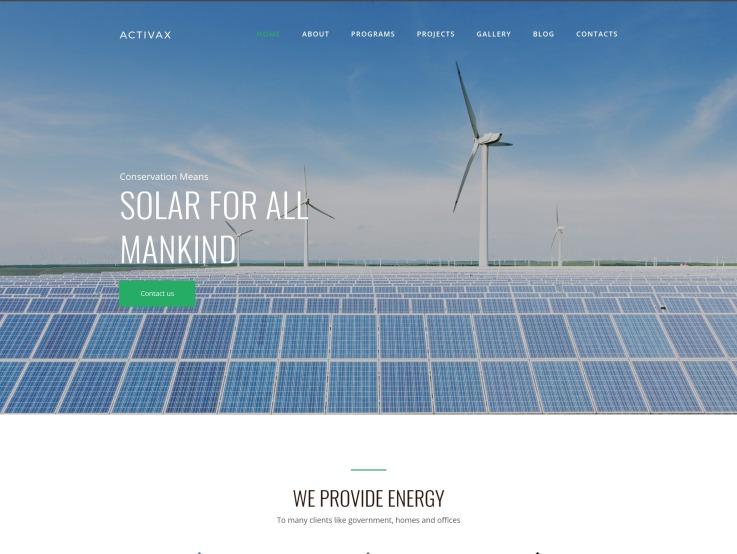 Solar Energy Website Design - Activax - main image