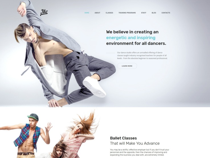 Dance Studio Website Design - MC - main image