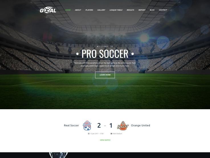 Soccer Website Design - Goal - main image