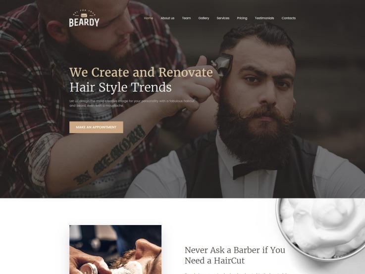 Barber Shop Website Design - Beardy - main image