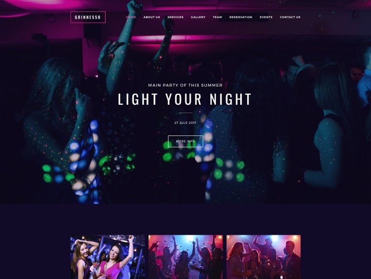 Night Club Website Design - Grinnesso - main image
