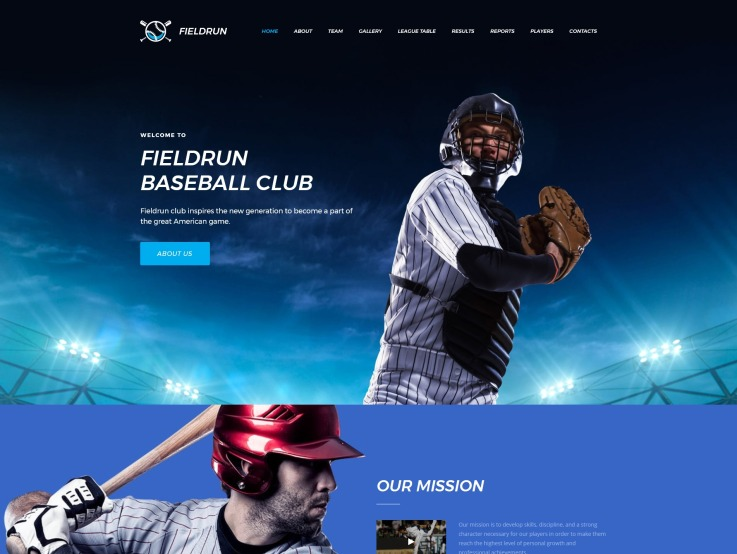 Baseball Website Design - Fieldrun - main image