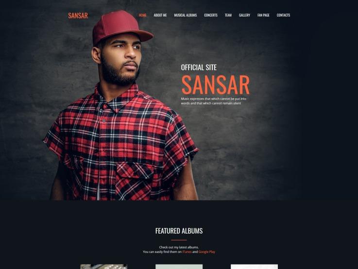 Singer Website Design - Sansar - main image