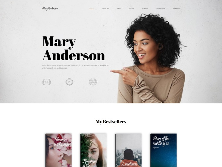 Author Website Design - Mary Anderson - main image