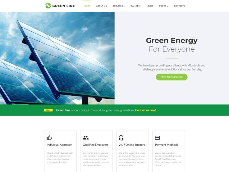 Renewable Energy Website Design - Green Line - main image