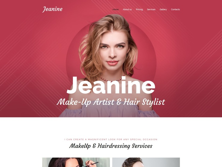 Makeup Artist Website Design - Jeanine - main image