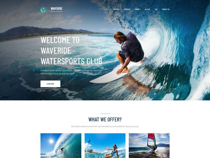 Surfing Website Design - Waveride - main image