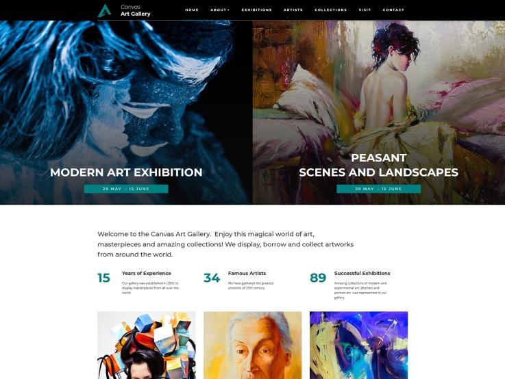 Art Gallery Website Design - Canvas - main image