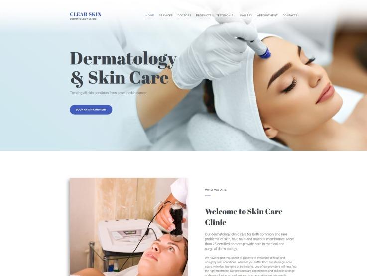 Dermatology Website Design - Clear Skin - main image