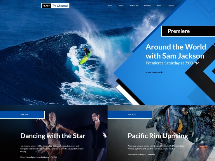 TV Channel Website Template - main image