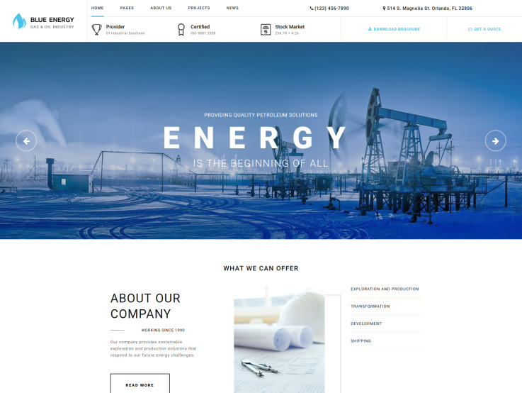 Oil Gas Website Design - Blue Energy - main image
