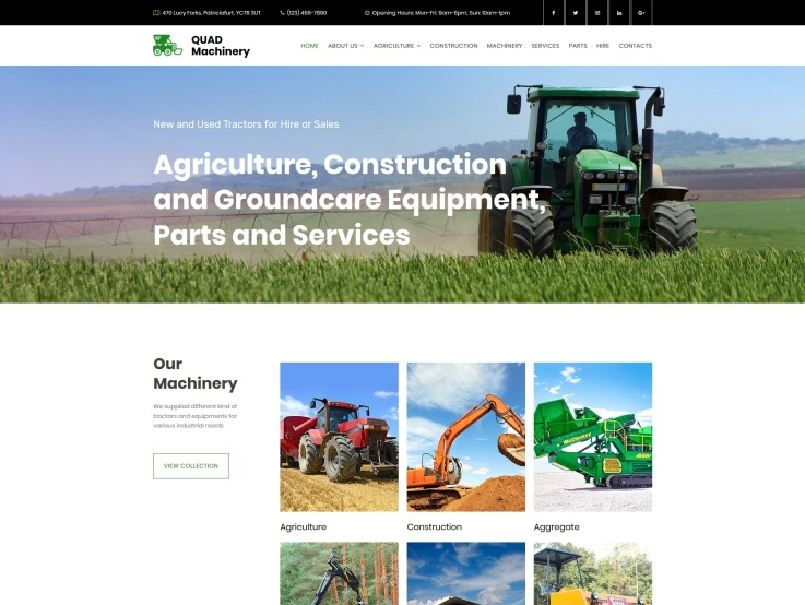 Tractor Website Design - main image