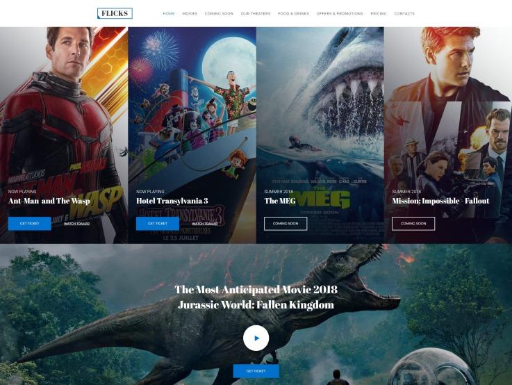 Cinema Website Design - Flicks - main image