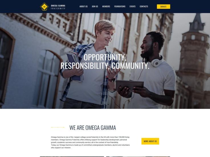 Fraternity Website Design - Omega Gamma - main image