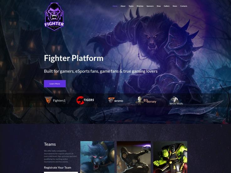 Esports Website Design - Fighter - main image
