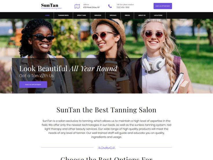 Tanning Salon Web Design - SunTan - main image