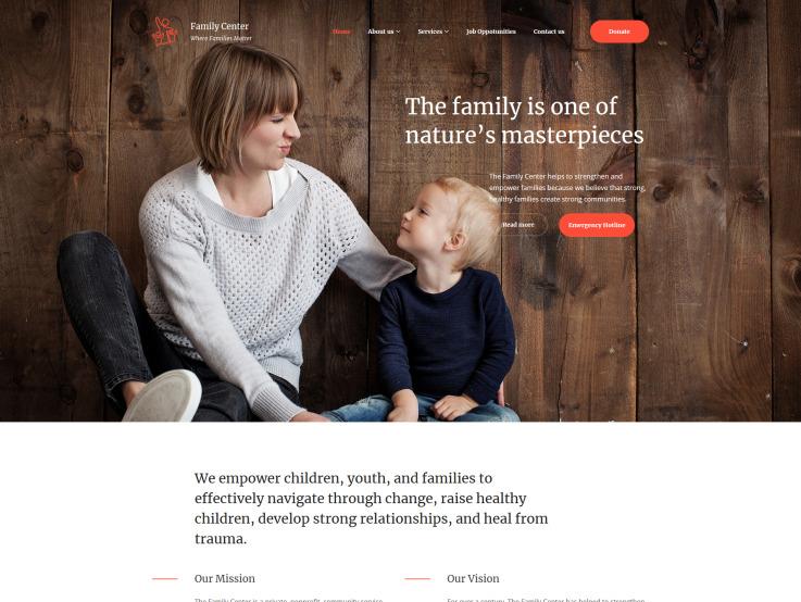 Family Center Website Design - main image