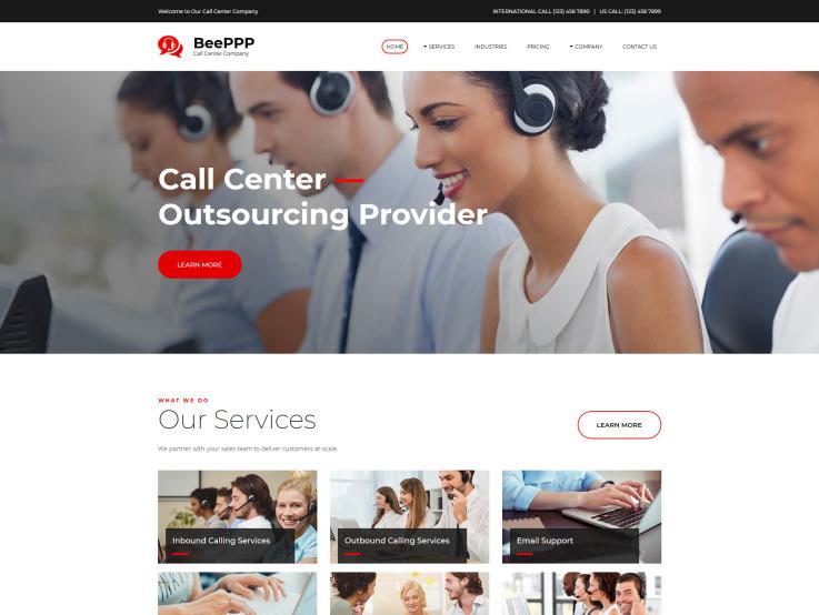 Call Center Website Design - main image
