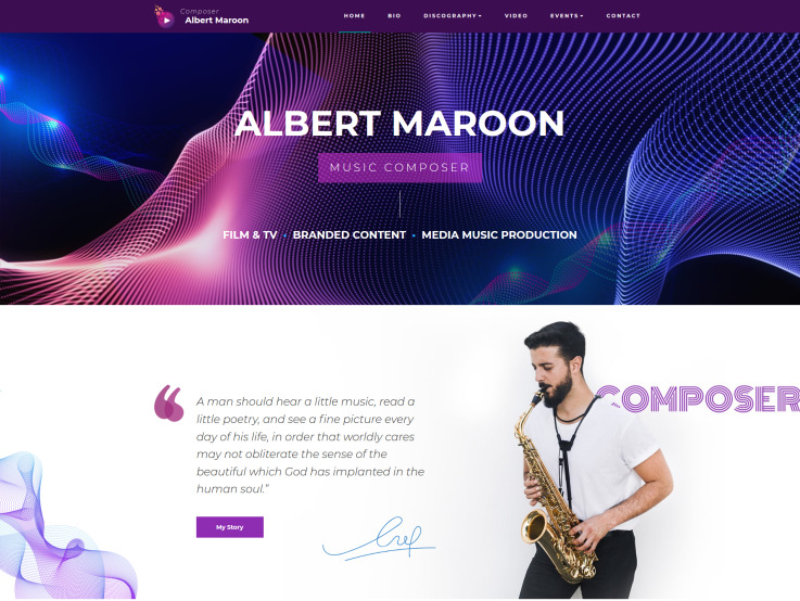 Music Composer Website Design - main image