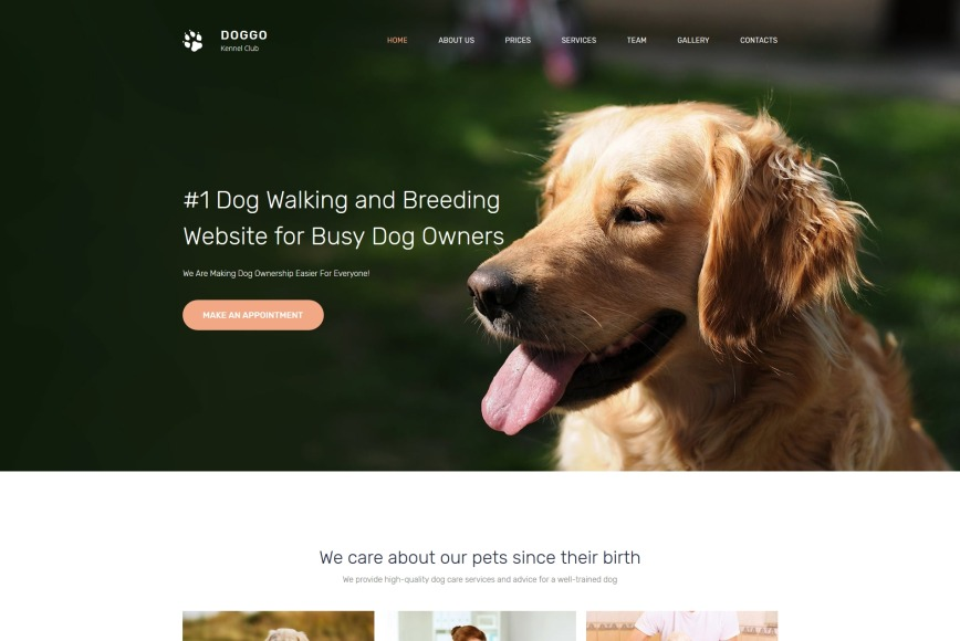 Dog Walking Website Template For Kennel