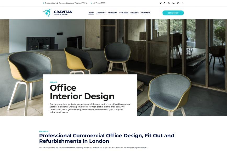 Website Template For Interior Design Studio Gravitas Motocms